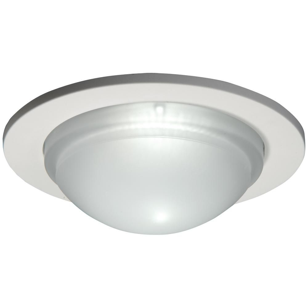 Dome Shower Light with Satin White Trim Ring-5 Inch Aperture
