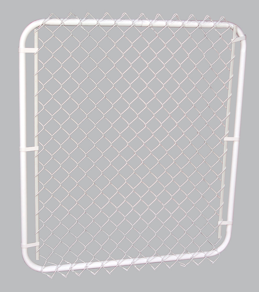 """42""""op x 48""""h White Gate with 2"""" White Chain Link"""