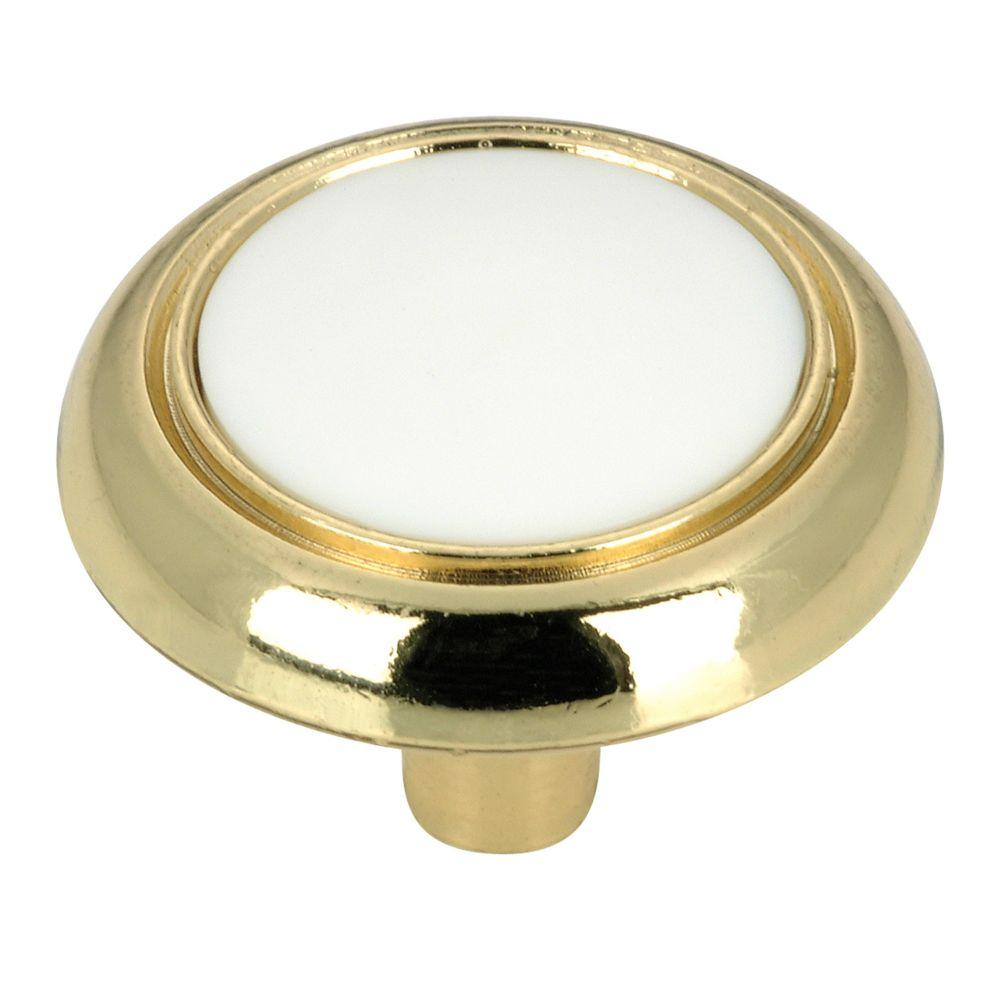 Classic Metal Knob - White, Brass - 32 mm Dia.