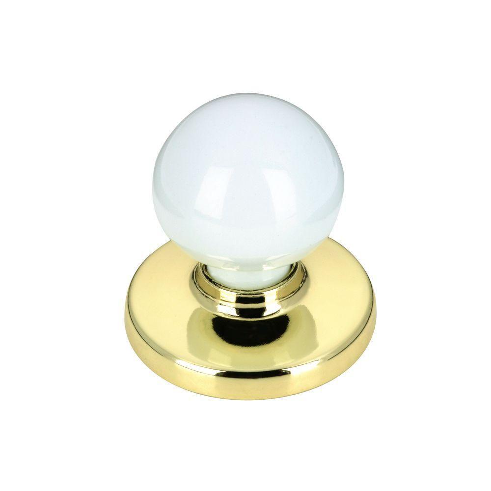 Classic Metal Knob - Brass, White - 32 mm Dia.