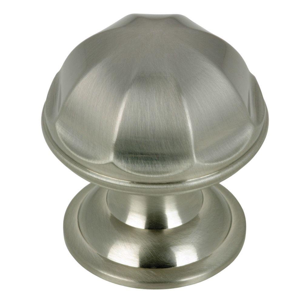 Contemporary Brass Knob - Brushed Nickel - 28 mm Dia.