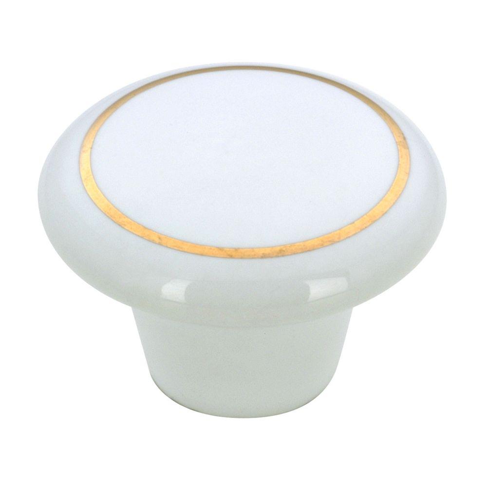 Classic Ceramic Knob - Brass, White - 38 mm Dia.