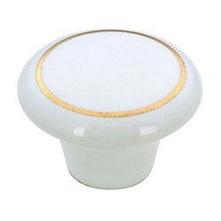 Richelieu Eclectic Ceramic Knob 1 1/2 in (38.1 mm) Dia - Brass White - Cherbourg Collection