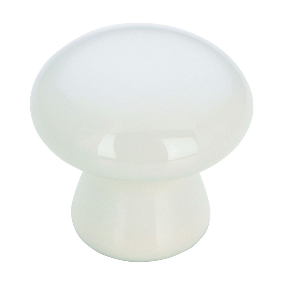 Richelieu Eclectic Ceramic Knob 1 3/8 in (35 mm) Dia - White - Cherbourg Collection
