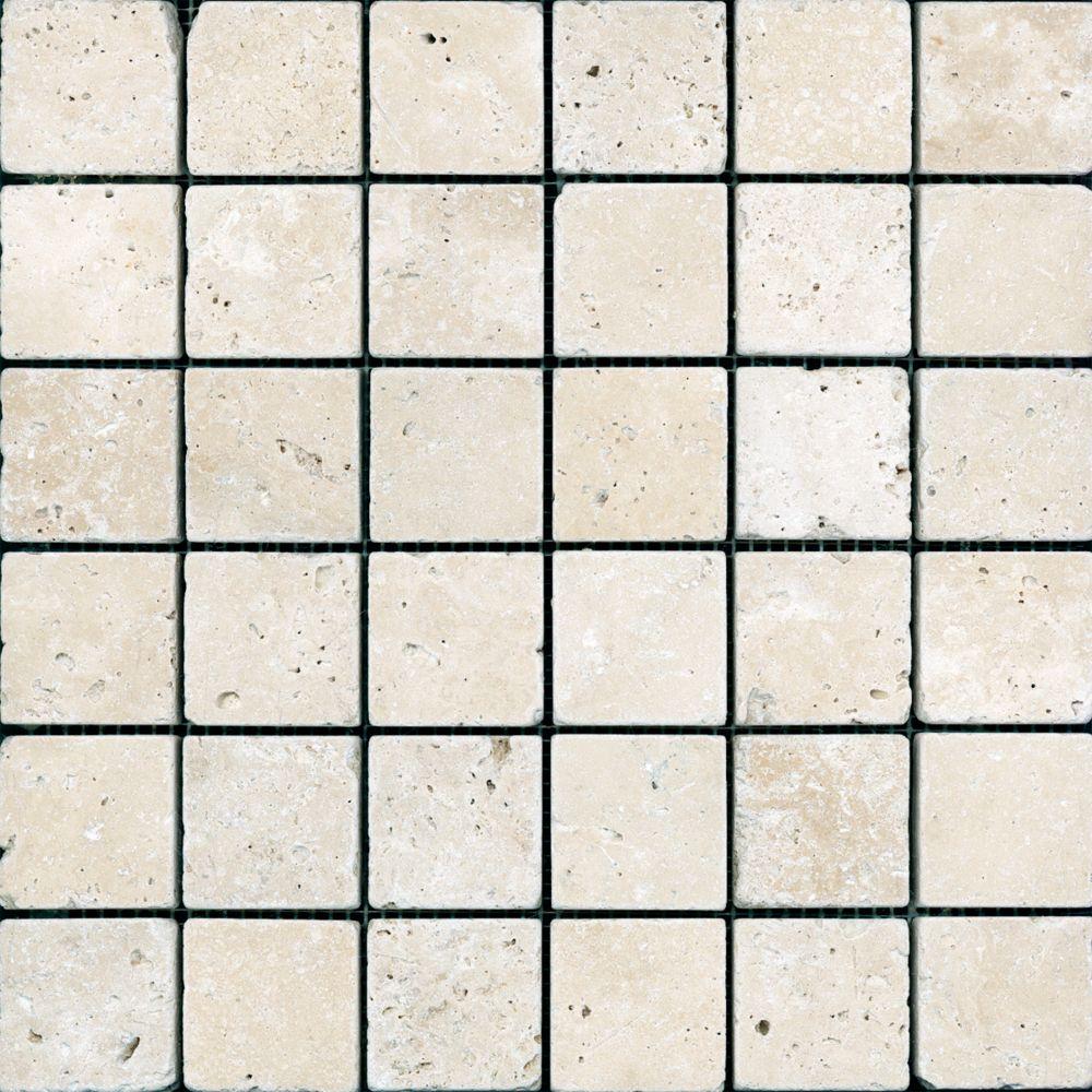 2 In. x 2 In. Tumbled Chiaro Travertine Mosaics HD025 Canada Discount