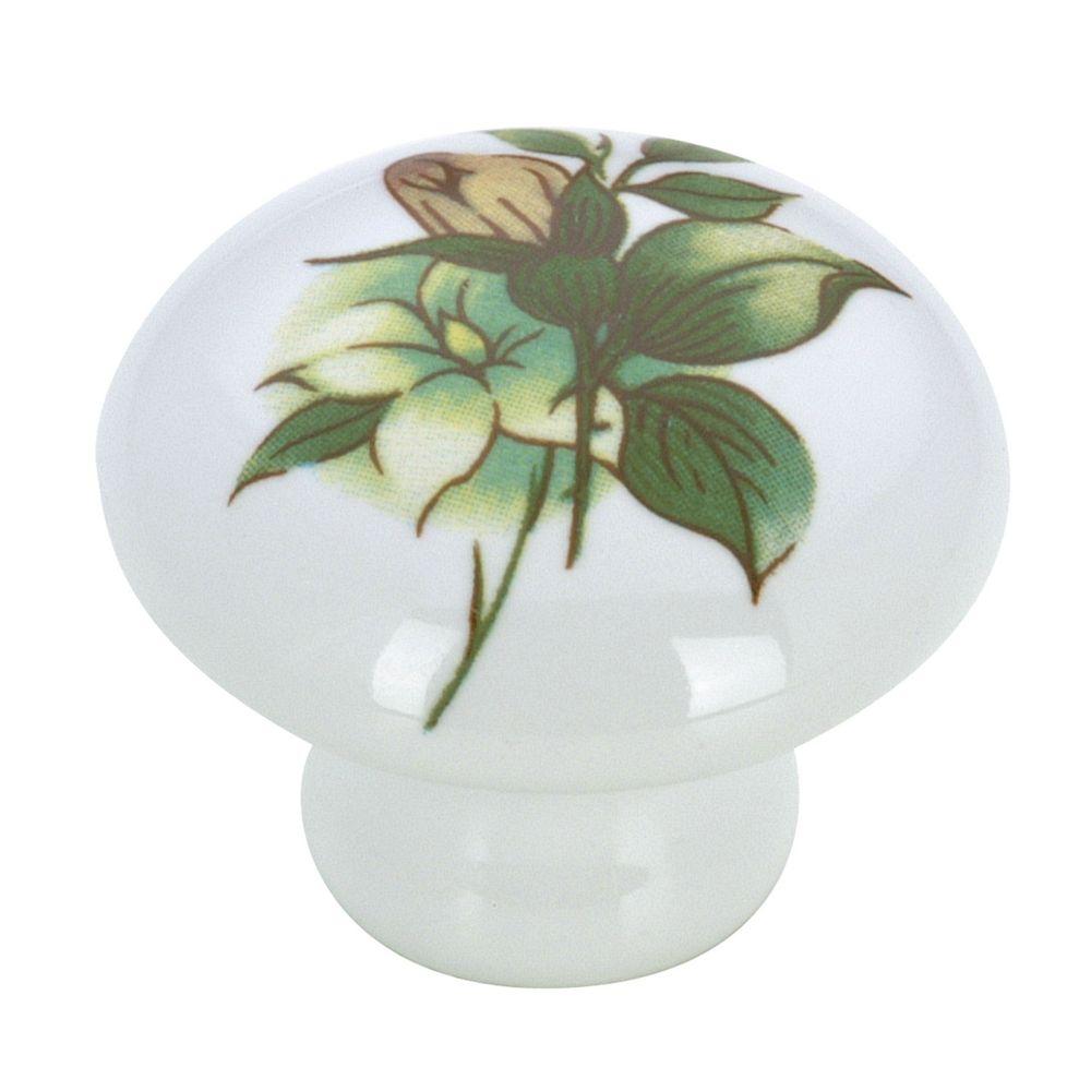 Eclectic Ceramic Knob - Green Flower - 35 mm Dia.