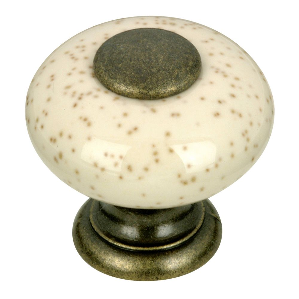Richelieu Eclectic Ceramic and Metal Knob 31/32 in (25 mm) Dia - Oatmeal - Cherbourg Collection