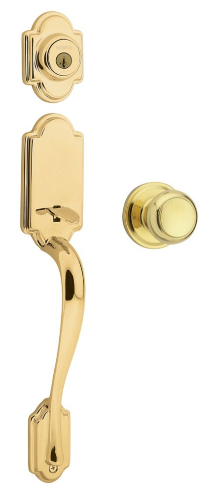 Columbia Single Cylinder Polished Brass Handle Set with Troy Knob