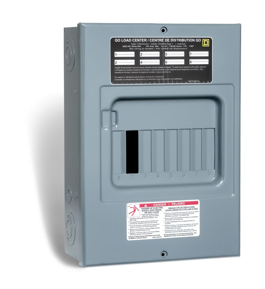 100 Amp  Sub Panel Loadcentre with 8 spaces, 15 Circuits Maximum