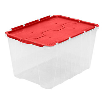 49 L Flip Top Storage Tote In Clear With Red Lid