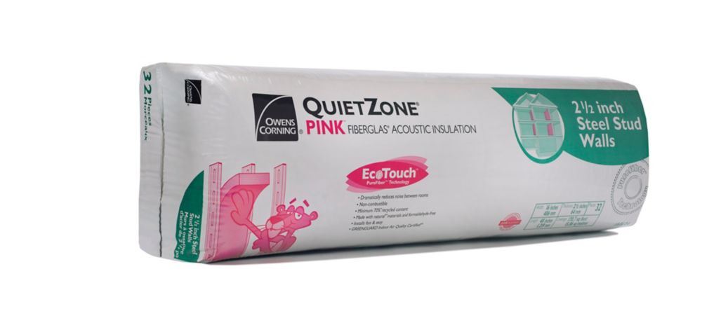 Owens Corning EcoTouch QuietZone PINK FIBERGLAS Acoustic Insulation - 16 Inch x 48 Inch x 2.5 Inch; 170.7 sq. Feet.