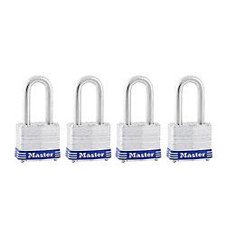 Master Lock Cadenas feuilleté à anse longue 1 1/2 po - Emballage de 4