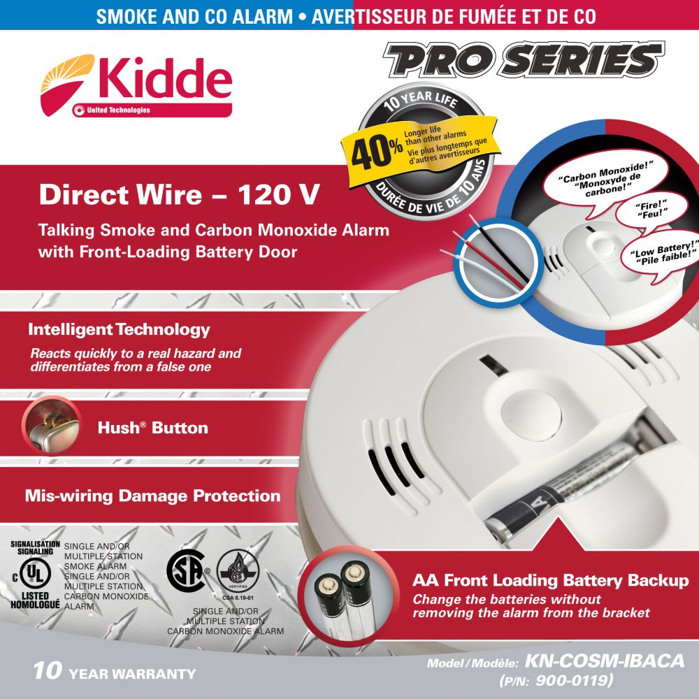 Hardwire Combo Smoke and Carbon Monoxide Alarm with Battery Back-up