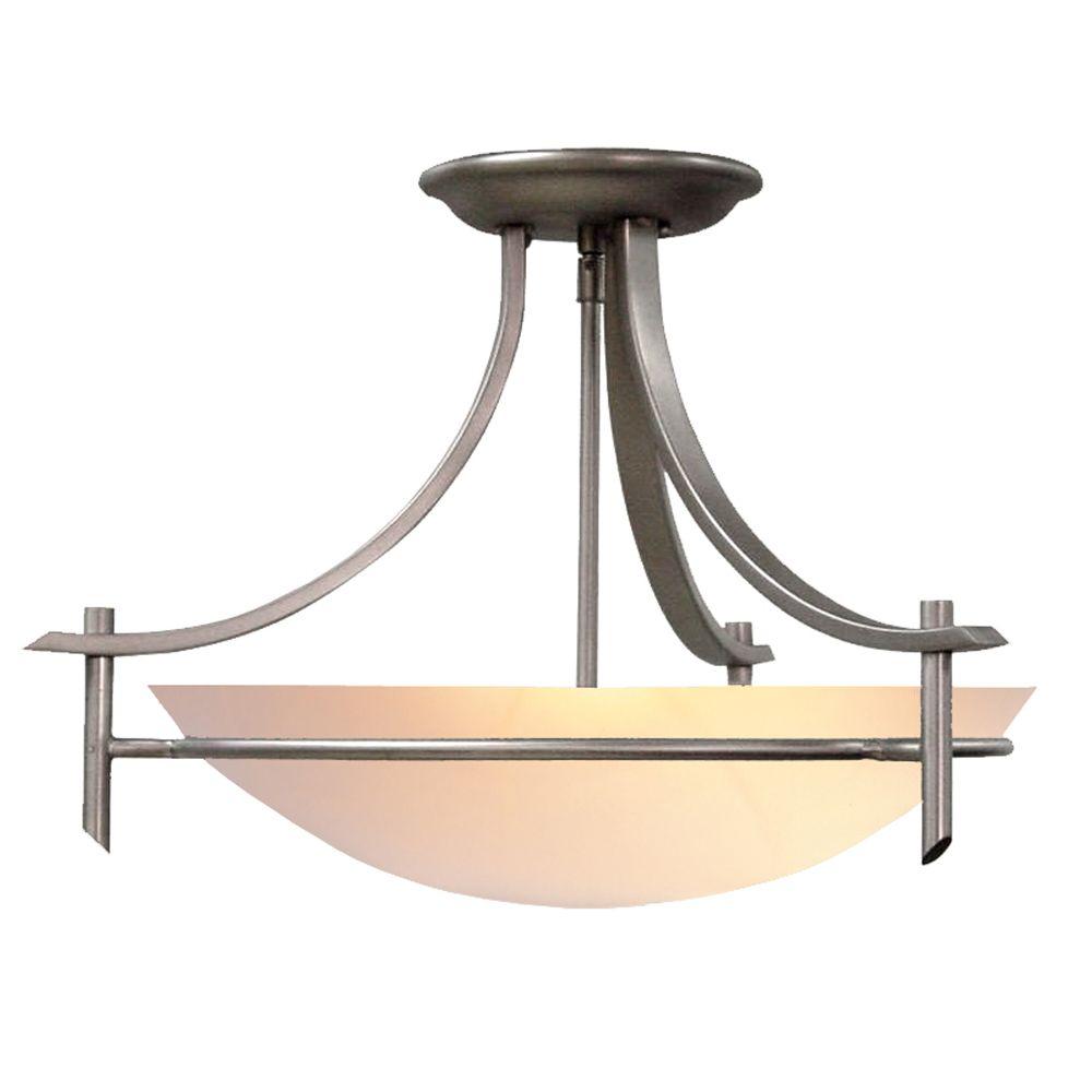 Hampton Bay 3-Light Brushed Nickel Semi-Flushmount Ceiling Light with Alabaster Glass Shade