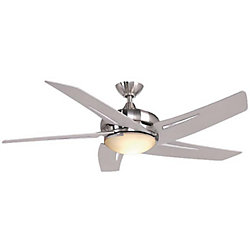 Hampton Bay Sidewinder 52-inch 5-Blade 1-Light Brushed Nickel Indoor Ceiling Fan with Light Kit