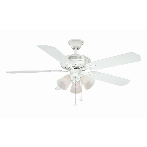 Hampton Bay Glendale 52-inch Indoor White Ceiling Fan with Light Kit