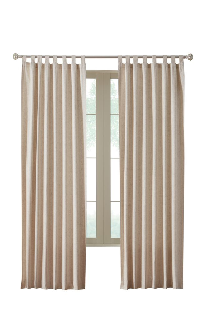 Faux linen, Tab Panel, Natural, 84 Inches X 84 Inches, Pair
