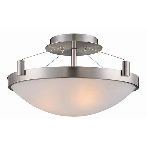 Hampton Bay 3-Light Brushed Nickel Semi-Flushmount Ceiling Light with White Frosted Glass Shade