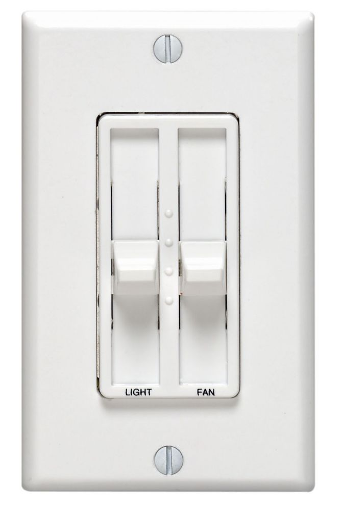 Leviton Decora Dual Quiet Fan Speed Control 1.5A and Dimmer Single Pole, White