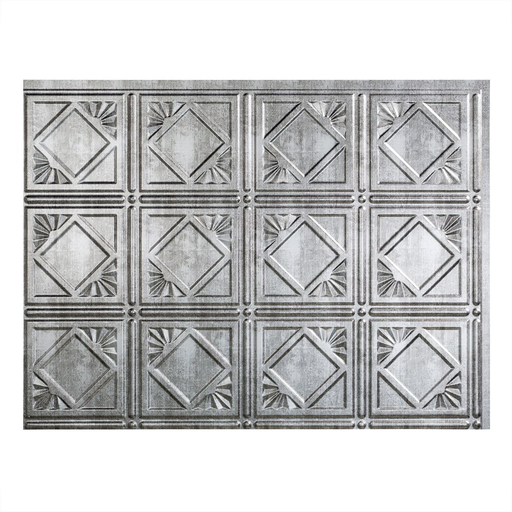 Traditional 4 Crosshatch Silver Backsplash
