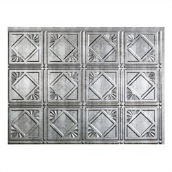Fasade Traditional 4 Crosshatch Silver 18 inch x 24 inch PVC Backsplash Panel