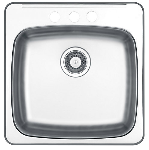 Wessan Drop In Single Bowl Stainless Steel Sink   The Home Depot ...