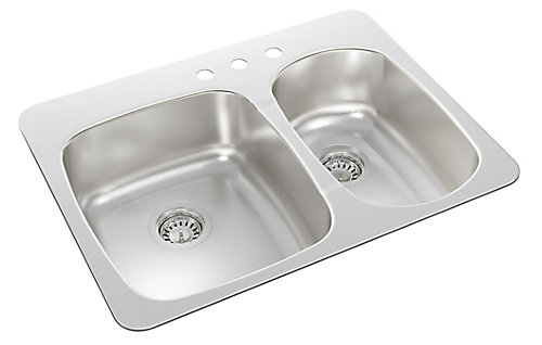 Wessan Drop In One and a Half Bowl Stainless Steel Sink   The Home ...