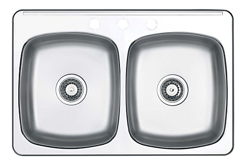 Wessan Double-Bowl Stainless Steel Sink   The Home Depot Canada