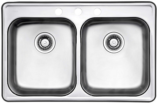 Wessan Drop In Two Bowl Stainless Steel Sink   The Home Depot Canada