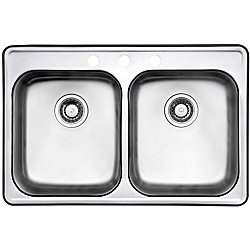 Wessan Drop-In Stainless Steel 32-inch 3-Hole Double Bowl Kitchen Sink