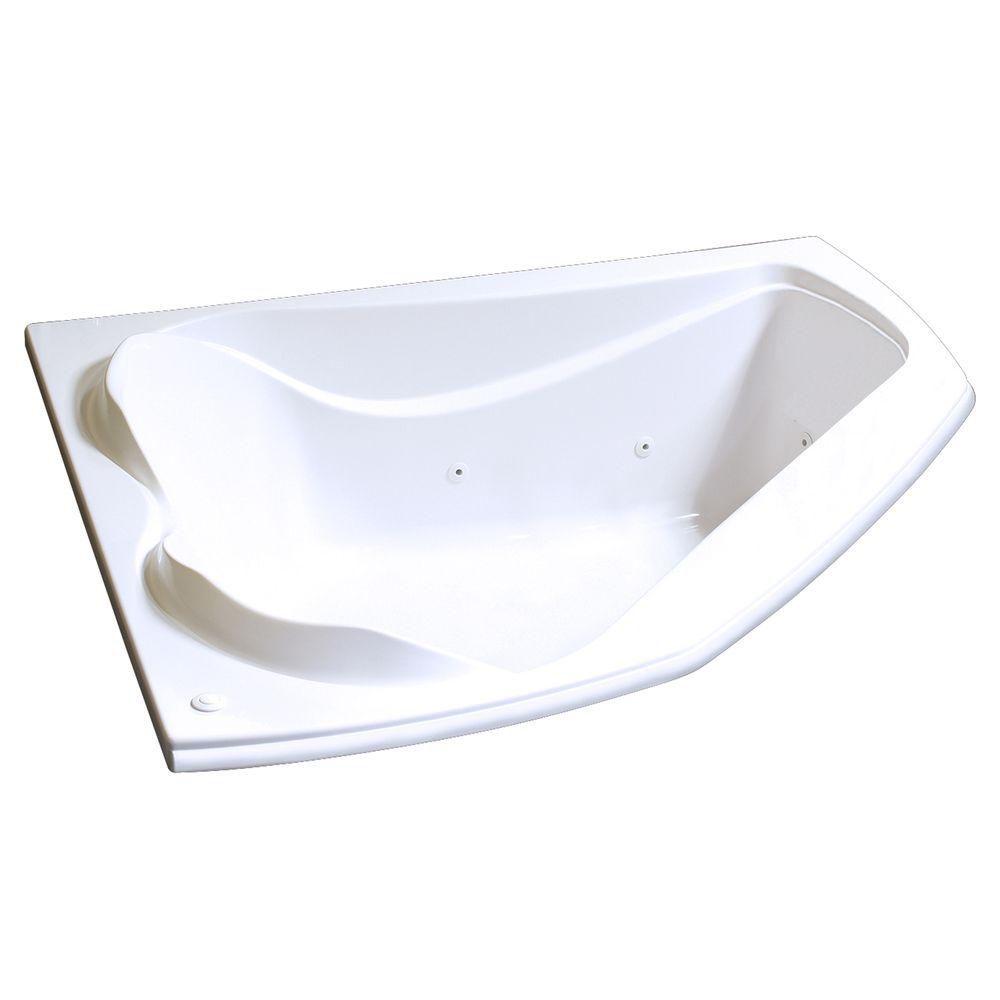 MAAX Velvet 5 Feet Acrylic Corner Drop-in Whirlpool Bathtub in White