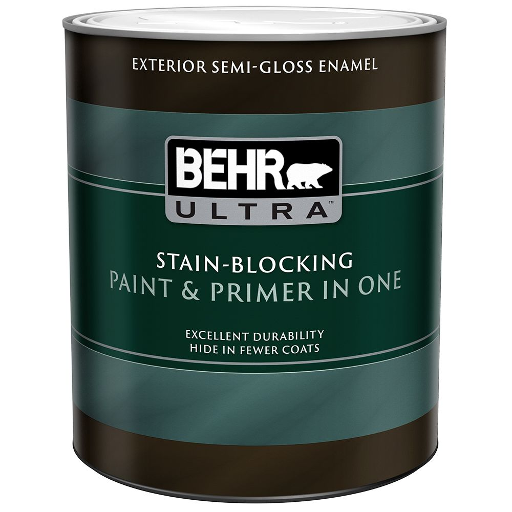 Exterior Paint & Primer in One, Semi-Gloss Enamel - Ultra Pure White, 946 mL