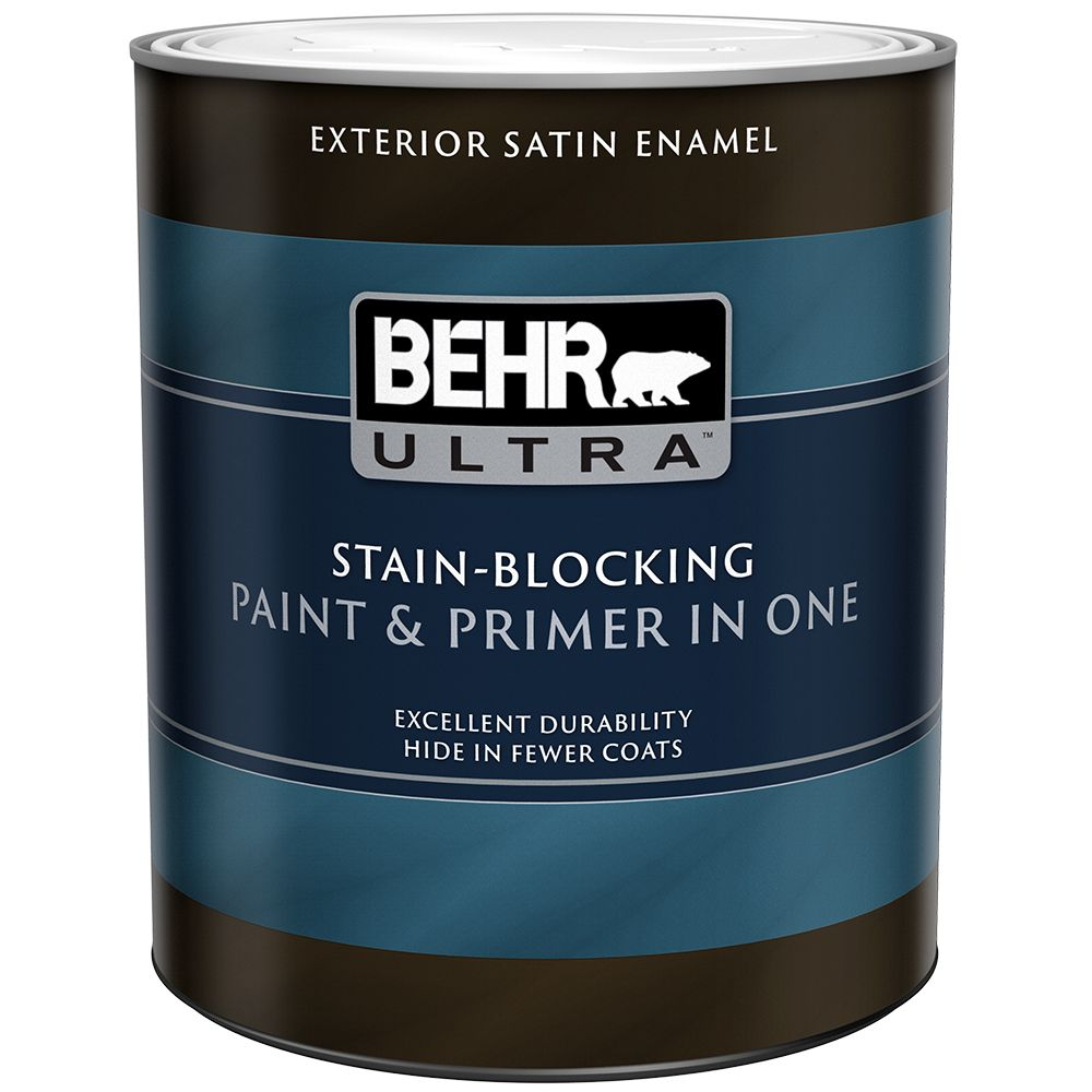 Behr premium plus ultra exterior paint primer in one satin enamel ultra pure white 946 ml for Behr exterior paint with primer reviews