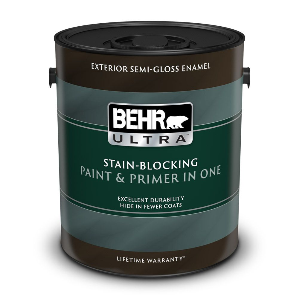 Behr premium plus ultra exterior paint primer in one semi gloss enamel deep base 3 7 l for Behr exterior paint with primer reviews