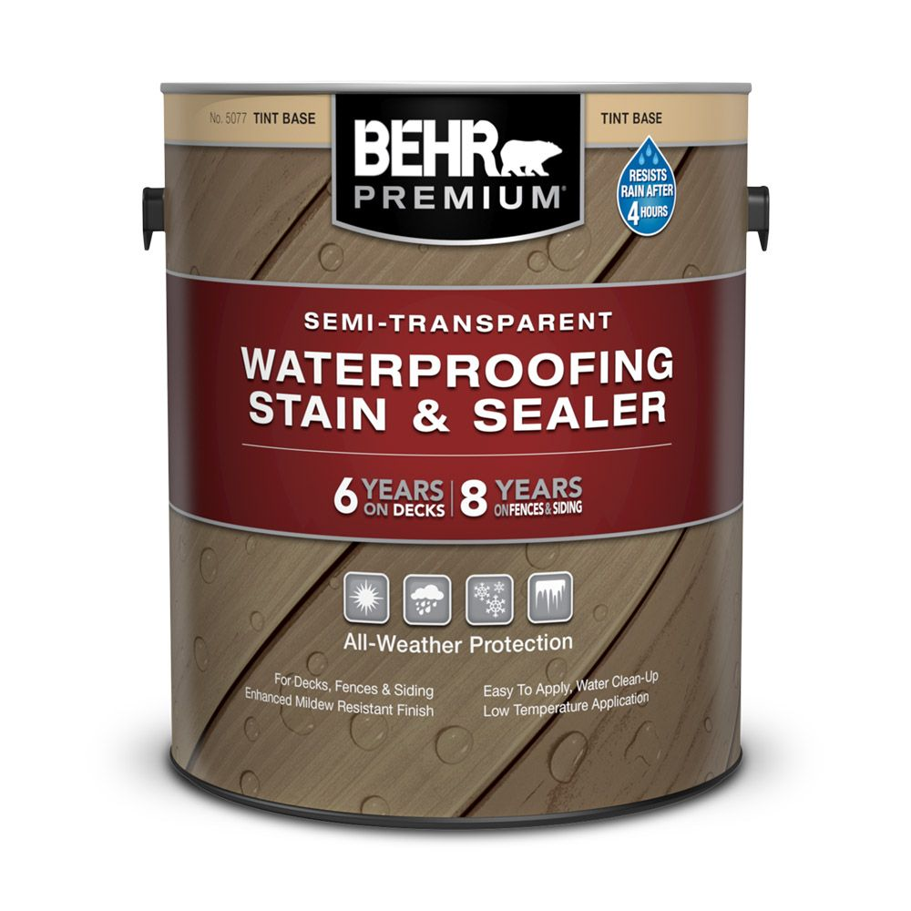 BEHR PREMIUM SEMI-TRANSPARENT WEATHERPROOFING WOOD STAIN, TINT BASE, 3.55 L