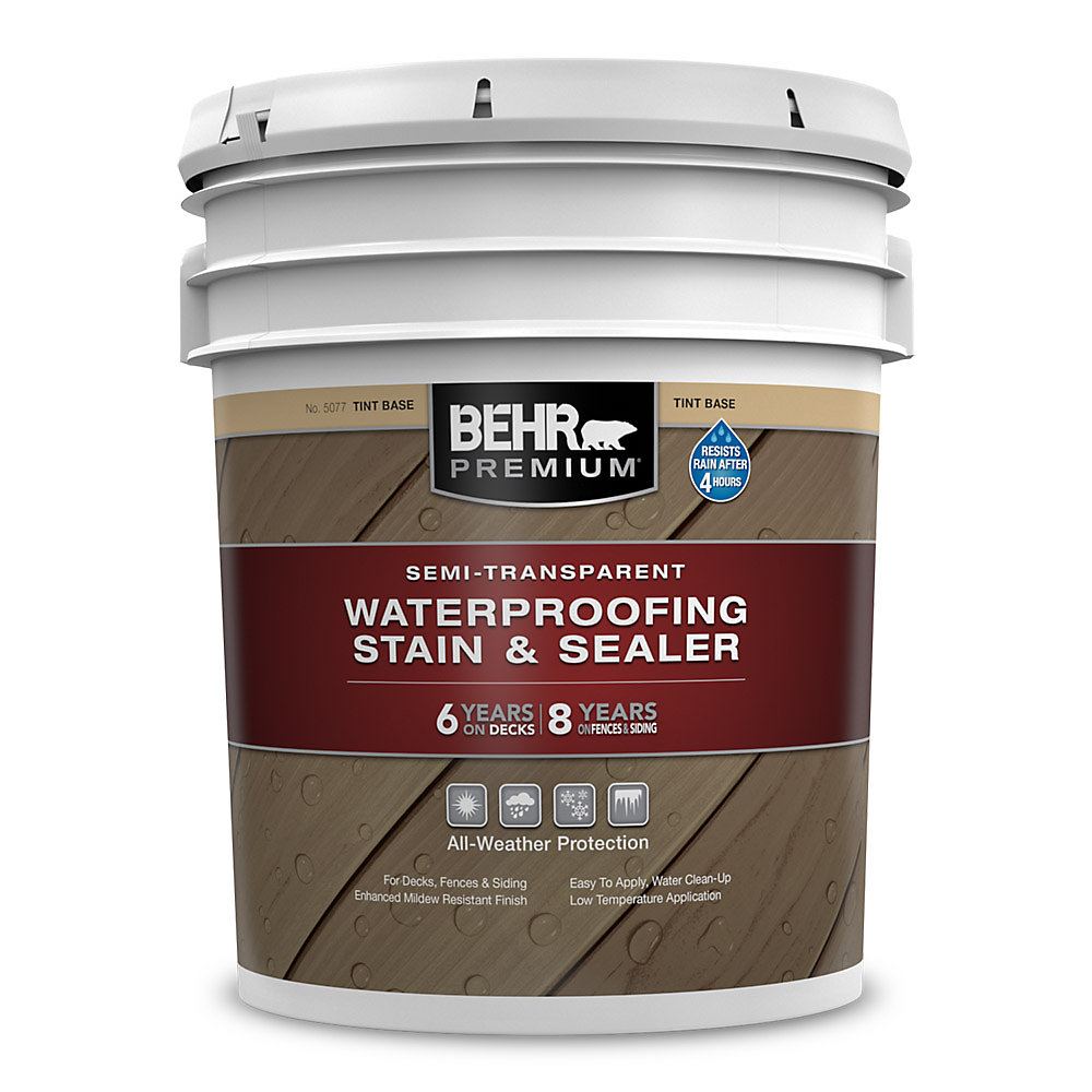 BEHR PREMIUM SEMI-TRANSPARENT WEATHERPROOFING WOOD STAIN, TINT BASE, 17.7 L