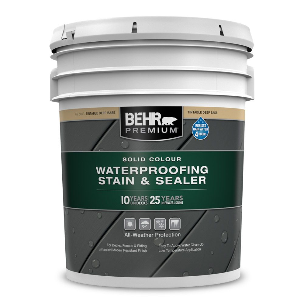 Premium Solid Colour Deck, Fence & Siding Weatherproofing Wood Stain, 17.1L