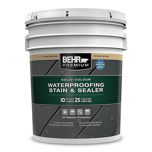 Behr Premium Solid Colour Weatherproofing Stain & Sealer - Deep Base No. 5013, 18.9 L