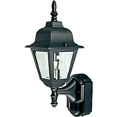 180 Degree Country Cottage Lantern with Clear Beveled Glass - Black