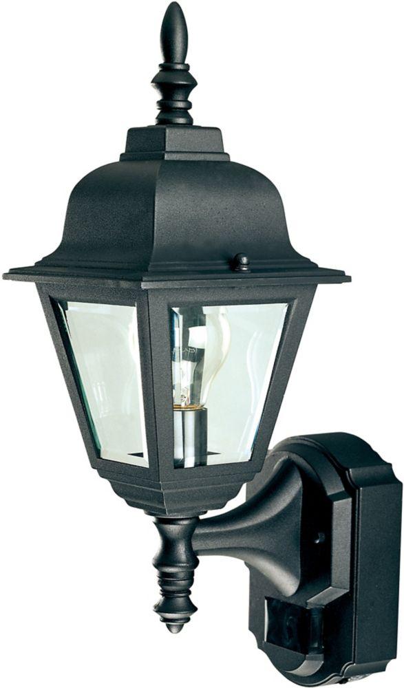 Lanterne de chalet de style campagnard de 180 degrés avec verre transparent biseauté- noir