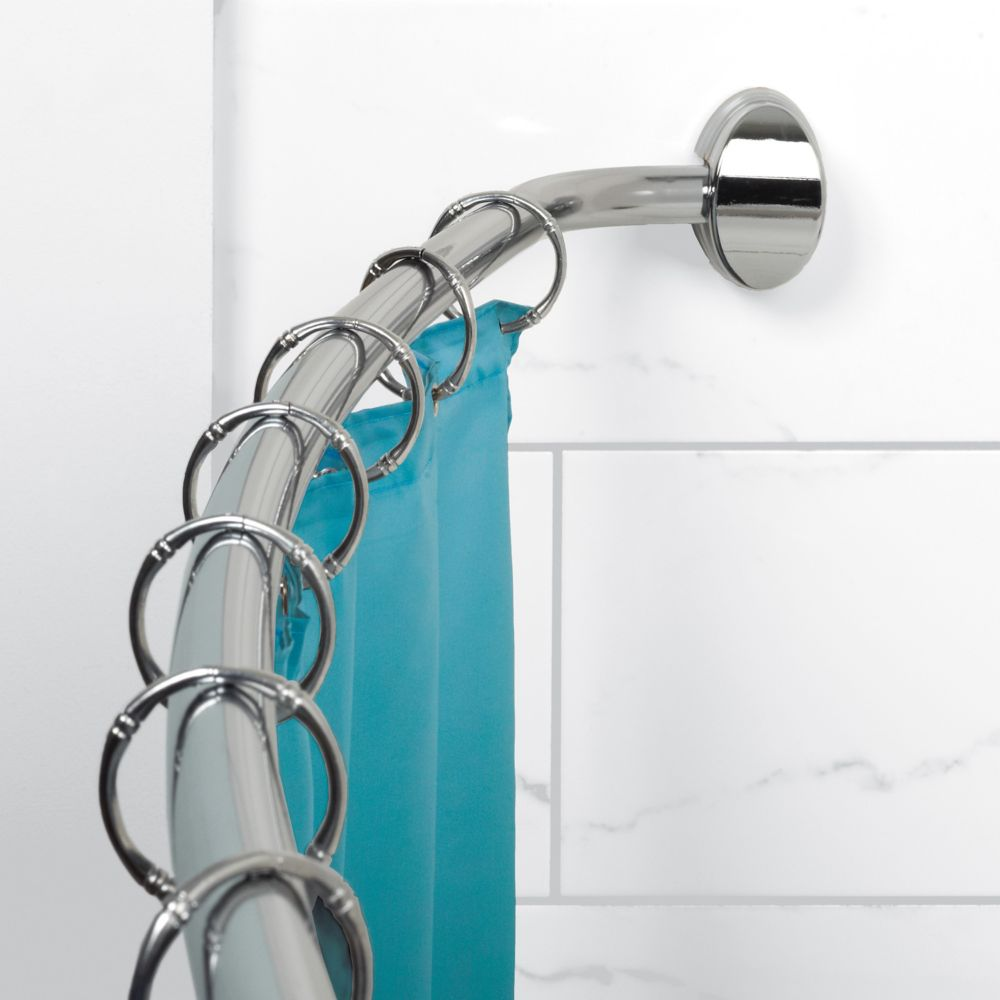 Zenith products tringle rideau de douche incurv e de type h tel chrome home depot canada - Tringle de rideau de douche ...