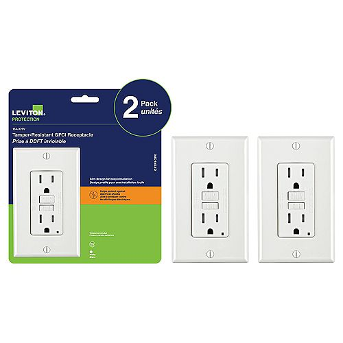 Leviton Decora 15 Amp Tamper-Resistant Slim GFCI Receptacle/Outlet with Wall Plate (2-Pack)