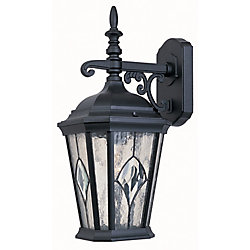 Hampton Bay 100W 1-Light Black Outdoor Wall Lantern with Seedy Glass Panels