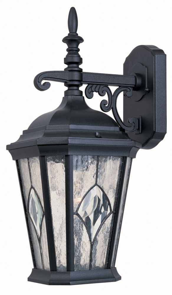 One-Light Outdoor Wall Lantern, Black Finish