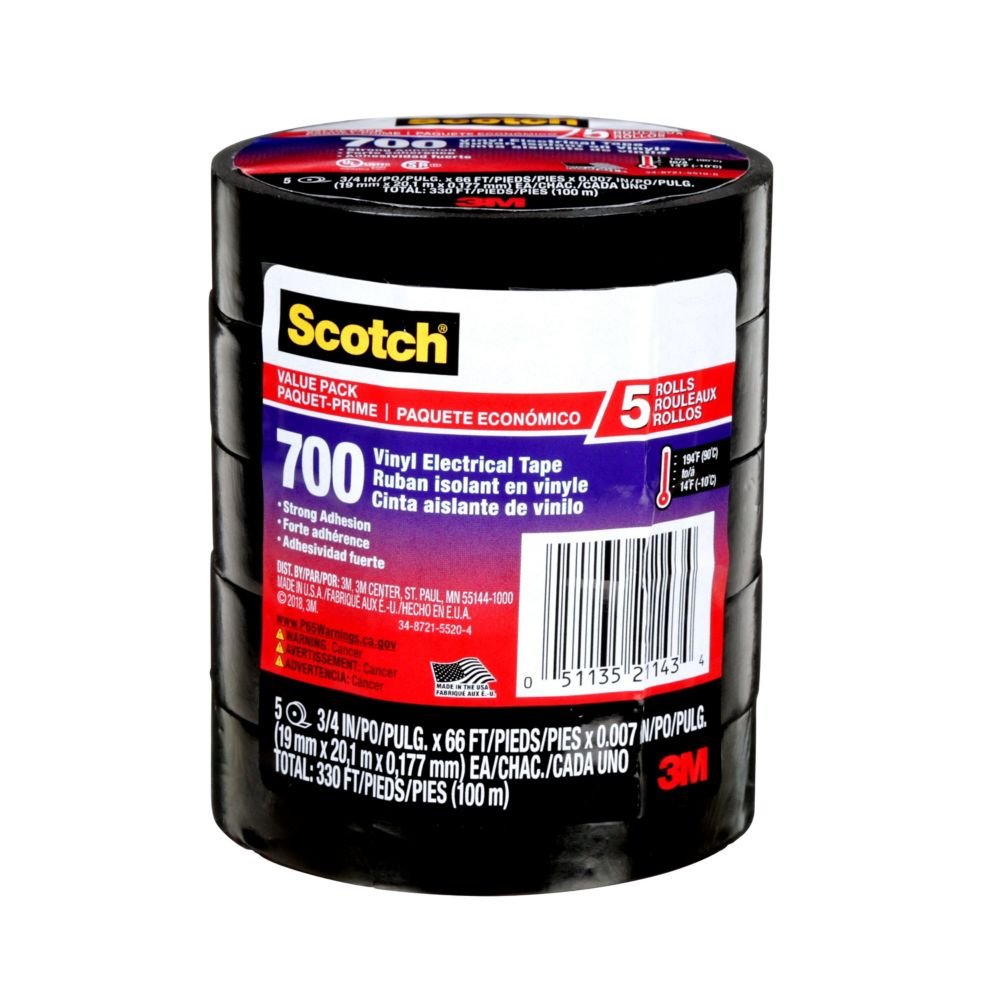 Scotch 700 5-Pack Commercial Grade Vinyl Electrical Tape