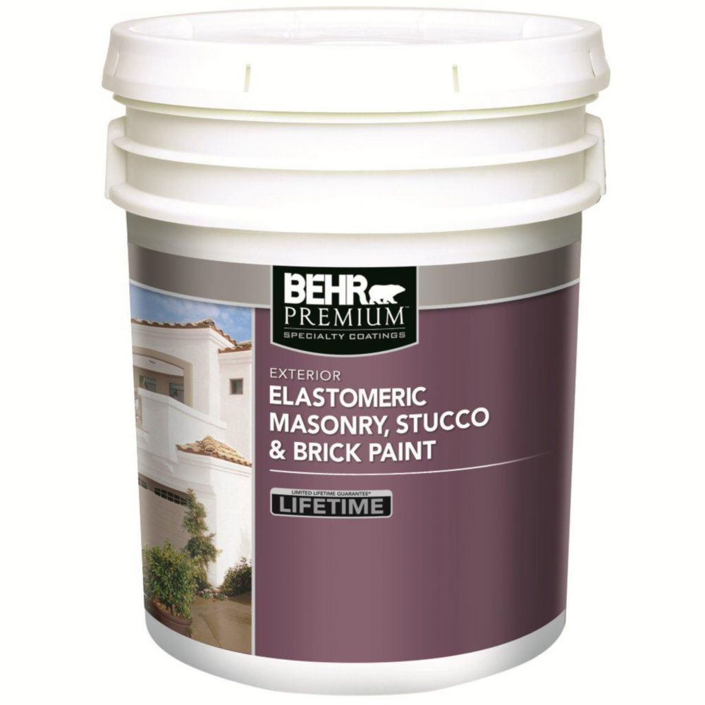 Behr BEHR Elastomeric Masonry, Stucco & Brick Paint, White Base, 18.3 L