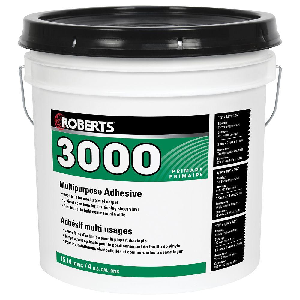 3000 Adhésif à Usages Multiples pour Tapis et Feuilles de Vinyle, 15L