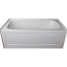 Sydney 5 ft. Left-Hand Drop-In Acrylic Bathtub in White