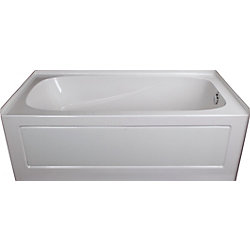 Mirolin Sydney 5 ft. Acrylic Alcove Non-Whirlpool Rectangular Right Hand Bathtub in White