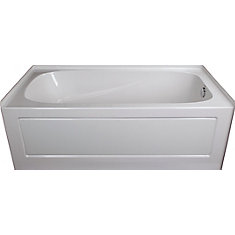Acrylic Drop In Non Whirlpool Right Hand Bathtub In White